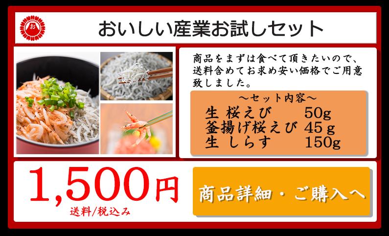 駿河湾桜えび980円のお試しセット